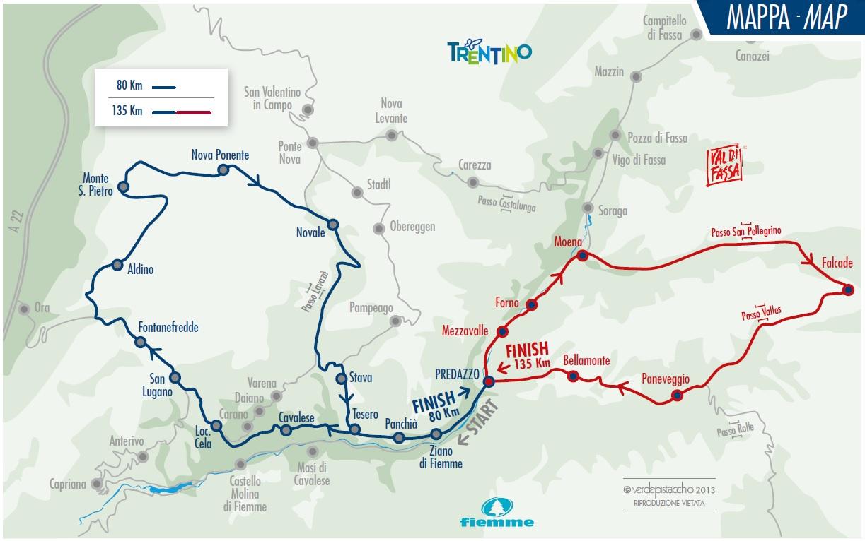 mappa cycling Marcialonga Cycling Craft, la carica dei 2000 da Predazzo